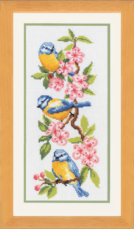 Vervaco Birds on Blossoms Floral Nature Cross Stitch Kit