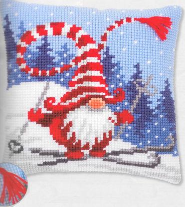 Vervaco Christmas Gnome Skiing Cushion Cross Stitch Kit