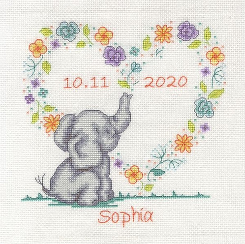 DMC Elephant Baby Birth Sampler Cross Stitch Kit