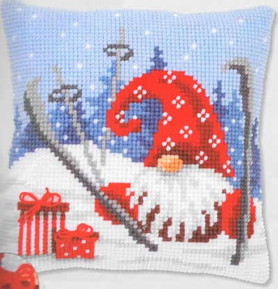 Vervaco Christmas Gnome Skiing Cushion Cross Stitch Kit