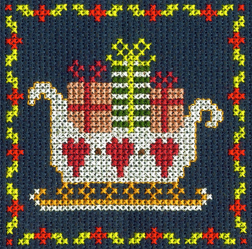 DMC Christmas Mini Cross Stitch Kit Santa Sleigh