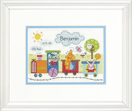 Dimensions Train Baby Birth Sampler Cross Stitch Kit