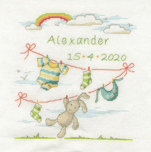 DMC Rabbit Bunny Baby Birth Sampler Cross Stitch Kit