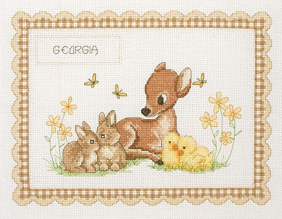 Anchor Baby Animal Birth Sampler Cross Stitch Kit