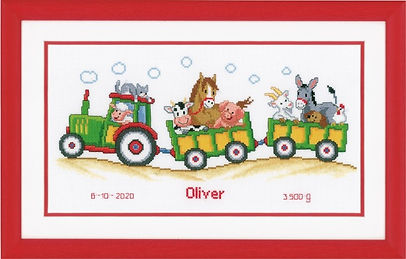 Vervaco Tractor With Animals Baby Birth Sampler Cross Stitch Kit