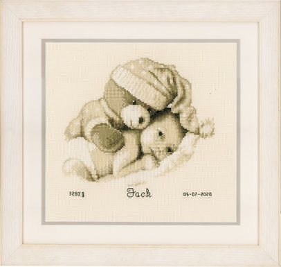 Vervaco Baby and  Teddy Birth Sampler Cross Stitch Kit