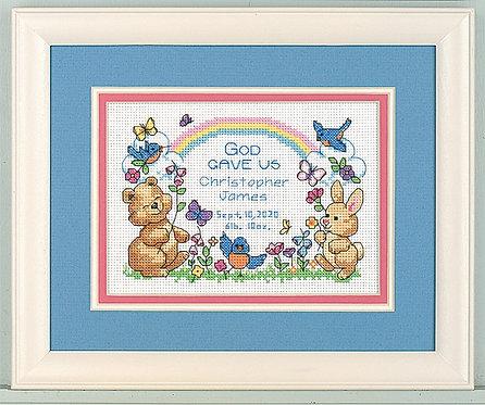 Dimensions God's Babies Baby Birth Sampler Cross Stitch Kit