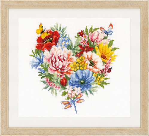 Vervaco Heart of Flowers Cross Stitch Kit