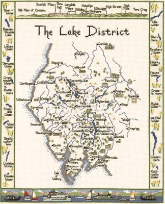 Heritage Crafts Map of the Lake District Cross Stitch Kit