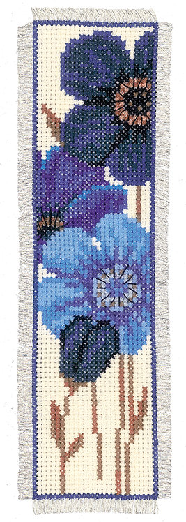 Vervaco Blue Anemones Bookmark Floral Nature Cross Stitch Kit