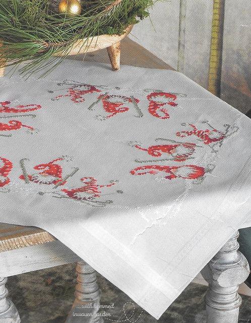 Vervaco Christmas Gnomes Skiing Table Cloth Cross Stitch Kit