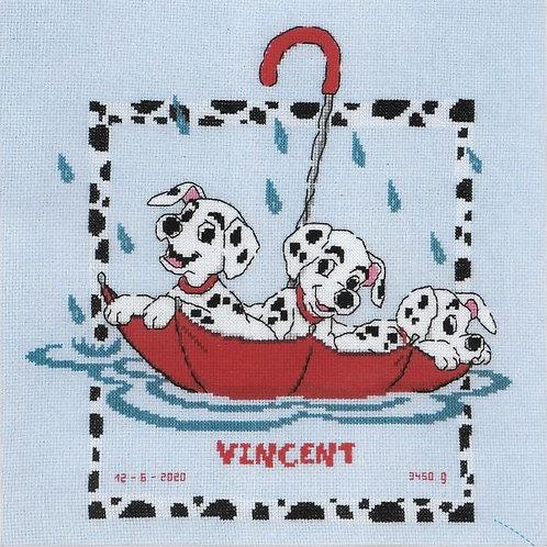 Vervaco Disney Dalmatians Baby Birth Sampler Cross Stitch Kit