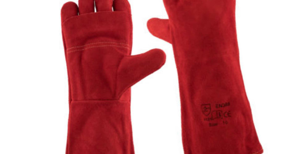RED HEAT RESISTANT GLOVES - ELBOW LENGTH