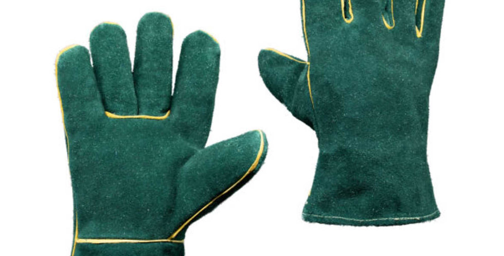 GREEN- LEATHER WELDERS GLOVES - WRIST LENGTH
