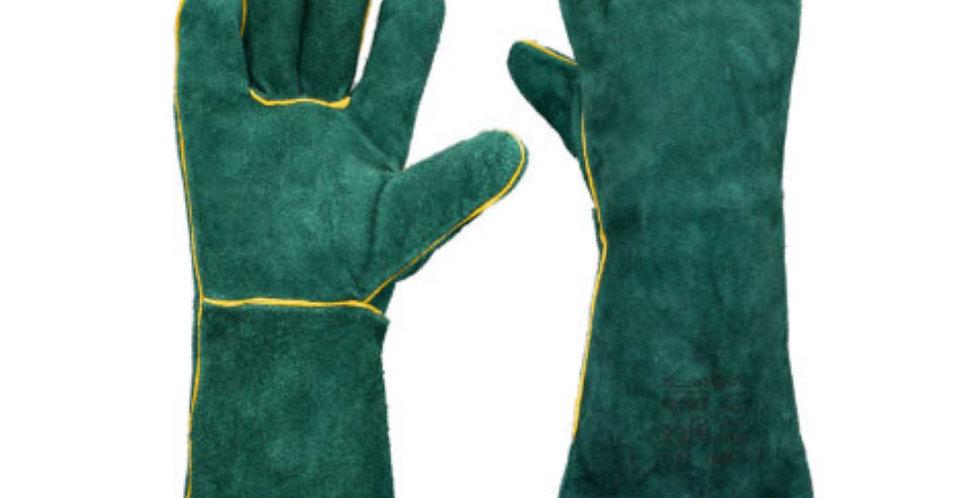 GREEN - LEATHER WELDERS GLOVES - ELBOW LENGTH