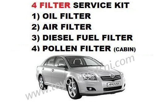 T25 Toyota Avensis 2.0d4d service kit, oil, air, cabin and fuel filter 03-09