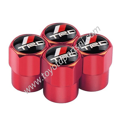 Toyota TRD Red Chrome Style Wheel Tyre Valve Dust Caps x4
