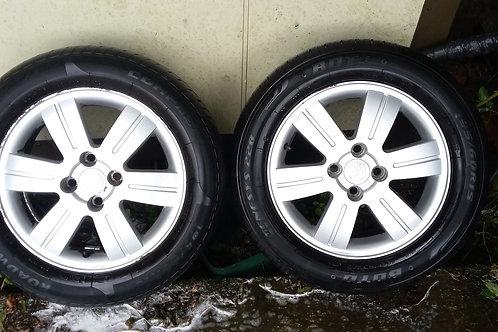 "E12 Corolla 15"" t3 color cln alloy wheels and tyres"