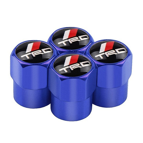Toyota TRD blue Chrome Style Wheel Tyre Valve Dust Caps x4