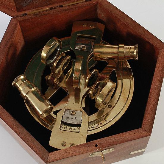 "4"" Full Round Brass Sextant with Sheesham Box by Clipperlight - © Nick Gravenor"