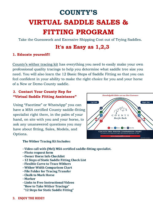 Virtual Saddle Sales and Fitting Program