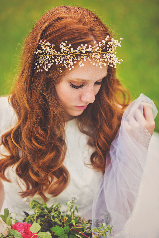 Portrait of girl in wedding dress