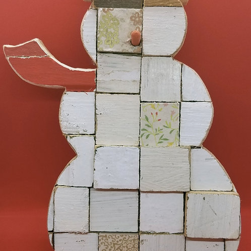 Snowman Wall Hanging - Upcycled Wood