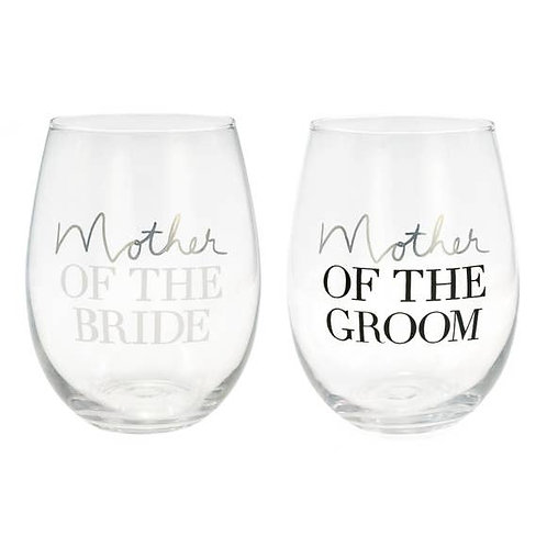 Mother of the Bride / Groom Stemless Wine Glass Set