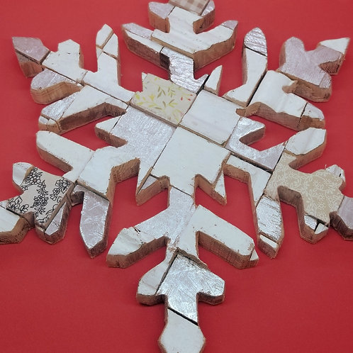 Snowflake Wall Decor - Made from Upcycled Wood
