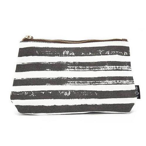 Stripes Charcoal Canvas  Pouch Large