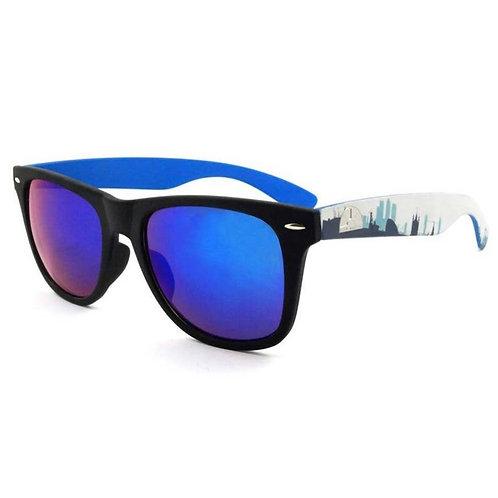 Classic Sandler Sunglasses with Skyline on Blue