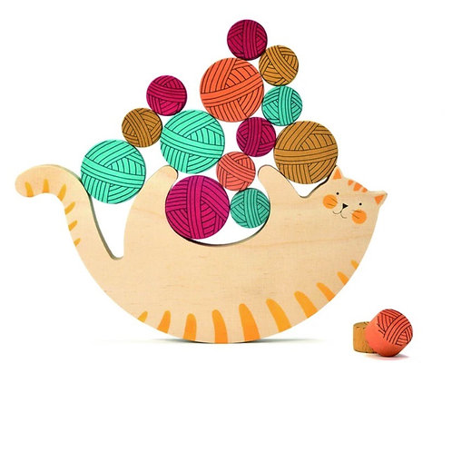 LONDJI Wooden Toys - Meow Balancing Game (1 Cat and 15 Yarn Balls)