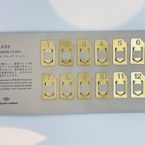 Japanese Brass Number Paperclips
