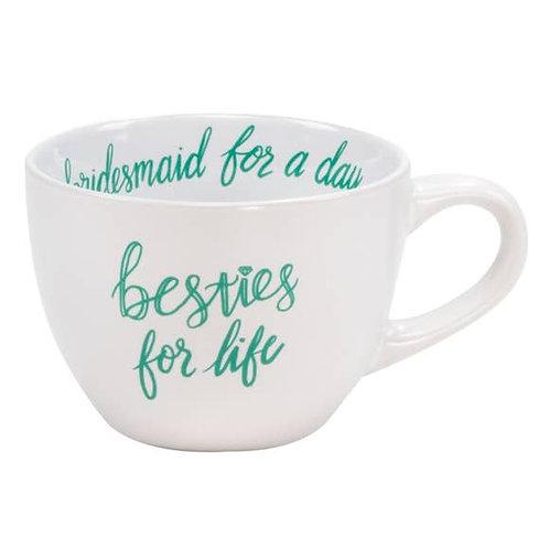 Besties For Life Bridesmaid Large Stoneware Mug