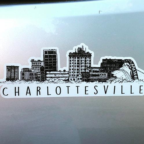 BellavanceInk: Charlottesville City Vinyl Sticker With Skyline View Pen and Ink