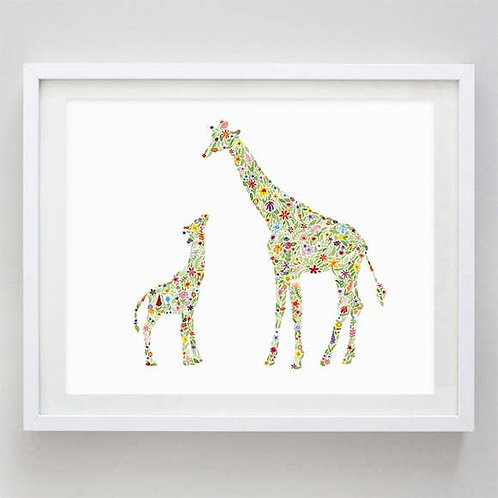 "8"" x 10"" Mama and Baby Giraffes Floral Watercolor Print"