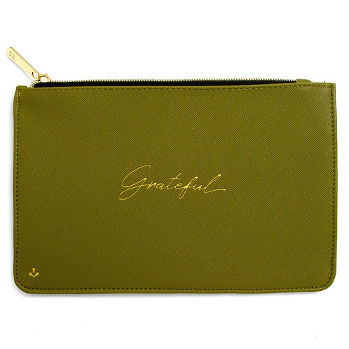 Grateful Green Zipper Pouch