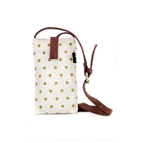 Mini Crossbody Bag, Dots Gold