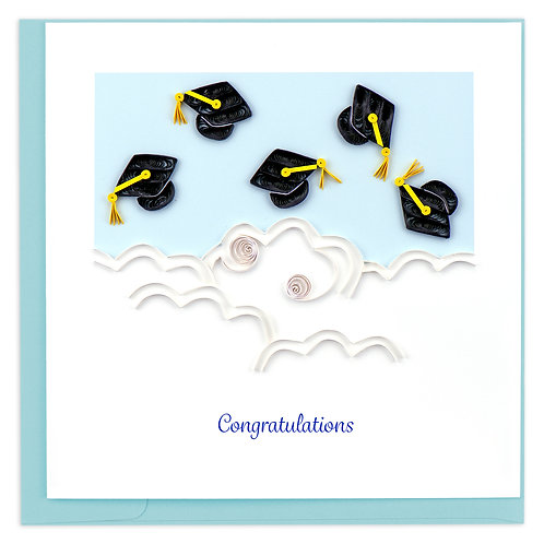 Quilling Card - Congratulations Flying Grad Hats