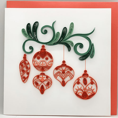 Red Ornaments - Quilling Card