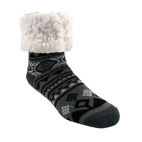 Classic Slipper Socks | Geometric Black