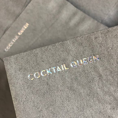 Cocktail Queen Napkins (Gray With Holographic Foil)