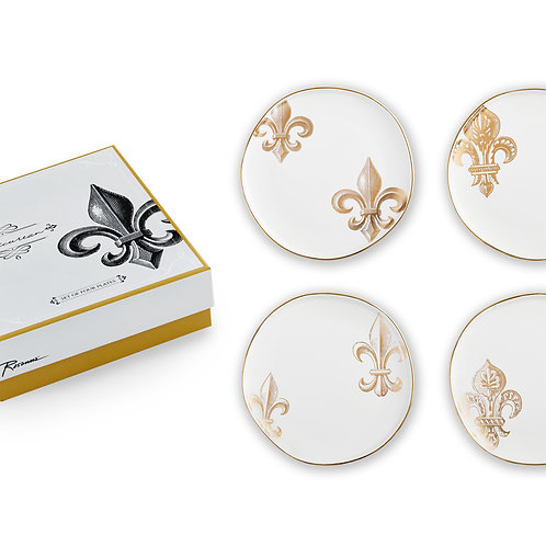 Epicurean plates fleur de lis (set of 4 in gift box)
