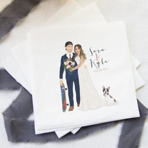 Custom Wedding Portraits for Guestbook Alts, Napkins, Gifts from Ms. DesignBerry