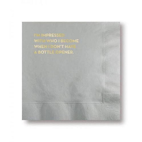 Bottle Opener Napkins (Silver With Gold Foil)