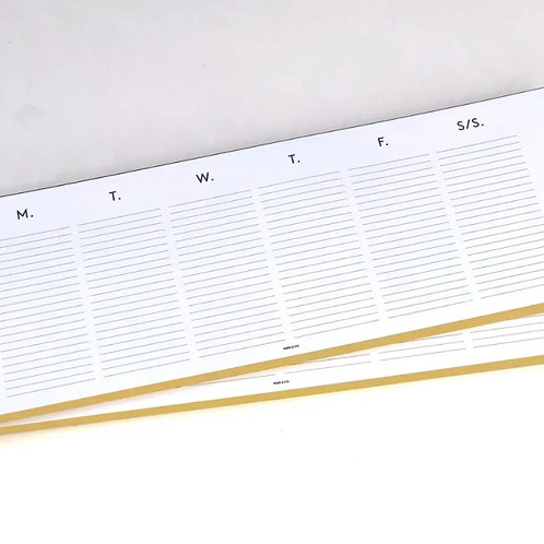Weekly Desktop Planner with Gold Edge