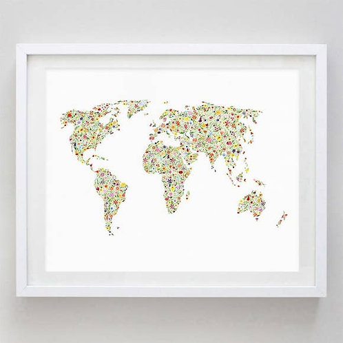 "8"" x 10"" World Map Floral Watercolor Print"