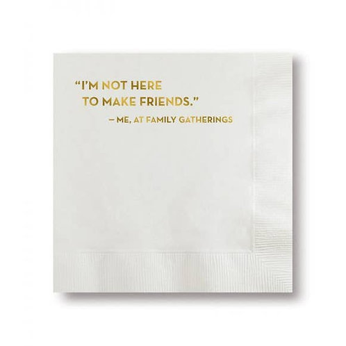 Make Friends Napkins (White With Gold Foil)
