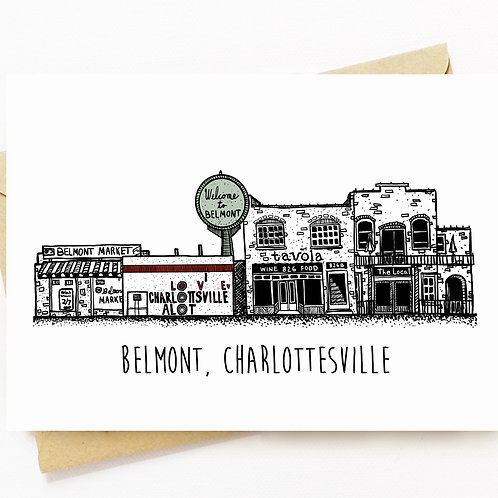 Greeting Card Of Downtown Belmont in Charlottesville Virginia