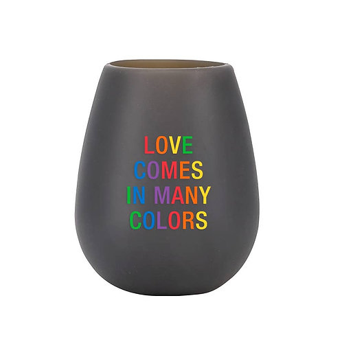 Love In Many Colors Stemless Silicone Wine Glass
